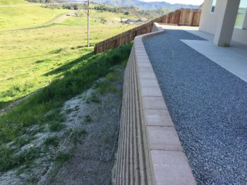 Retaining wall, gravel and gangway