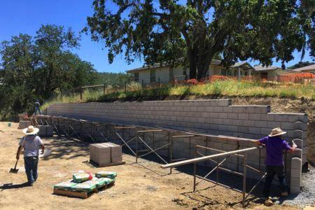 Block wall being built