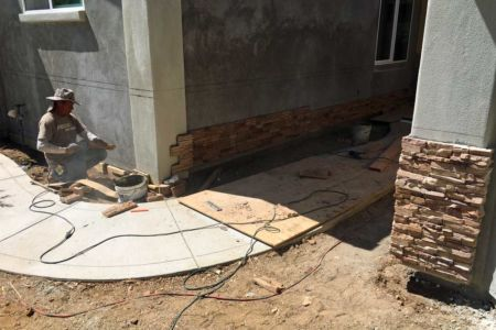 Cultured stone going up.