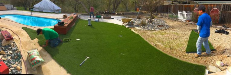 Water wise lawn artificial turf install in progress